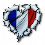 Ripped Torn Metal Heart with France French Tricolore Flag Motif External Car Sticker 105x100mm